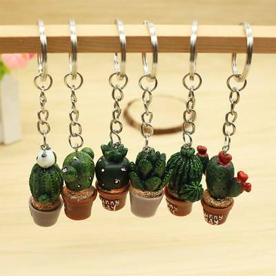 Simulation Mini Plant Potted Cactus Resin Key Chain Keyring Bag Accessories A