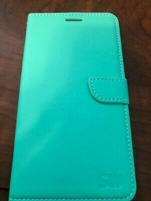 For LG Stylo 3 Plus, Leather Flip Cover Case, Mint Green