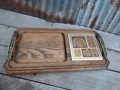 Mid C Retro Wooden Cheese Tray W Brass Handlesvtg Ceramic Tray Food Snack Tray
