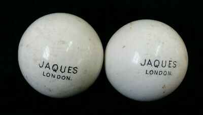 2 X Vintage Jaques London White Ceramic Porcelain Stone Jack Ball Lawn Bowls