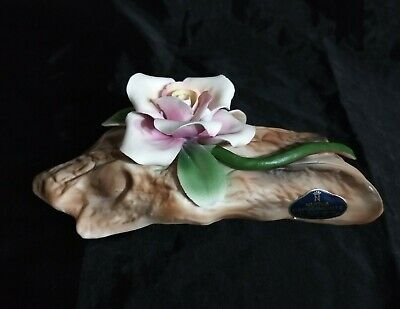 Vintage Nuova Capodimonte Single Flower White Pink Rose on Log Porcelain Figuiri