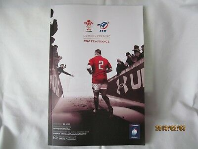 Wales v France. Rugby Union. 2018. Programme + Event Tickets.