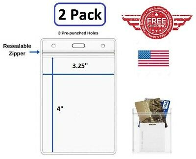 ID Card Holder Clear Plastic Badge Resealable Waterproof Business Case 2pcs