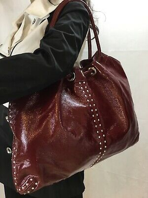 682ed9319cd7 MICHAEL KORS CRIMSON Red Patent Leather Astor Studded Ring Tote ...