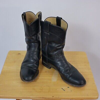 2d9e7cf2d41 JUSTIN BOOTS MENS 9.5 B Jackson Ropers Black Leather Cowboy Style 3133 USA  Made