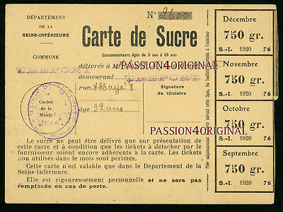 Le Treport Rue De Labbaye Carte Nominative Rationnement Sucre 1920 Seine Infer