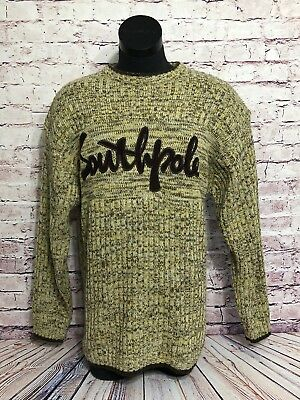 0617e26481 Southpole Authentic Collection Mens Brown Yellow Embroidery Crew Sweater  Size L
