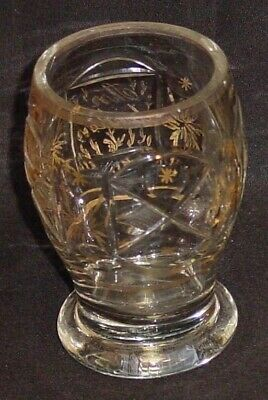 999311 Bohemian Crystal Glass Friendship Cup with rectangle & round cuts around