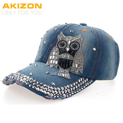 Baseball Cap Women and Teen Girls Fashion Leisure OWL Rhinestones Jean Cotton
