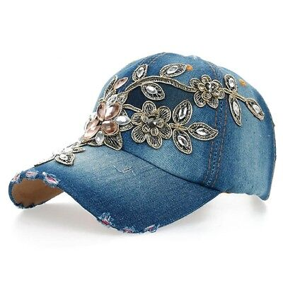 Baseball Caps for Women and Teen Girls Fashion Leisure Rhinestones Jean Cotton