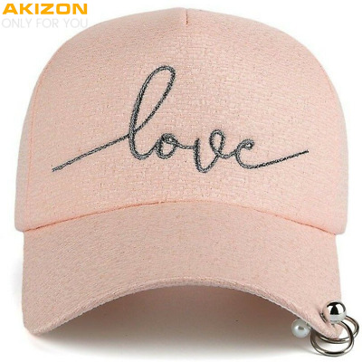 Womens Baseball Cap Love Embroidery CUTE Adjustable Plastic Strap Metal Rings