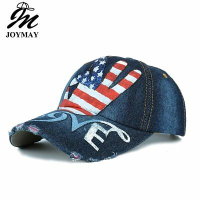 AKIZON  New Arrival OK love USA flag Painting Jean Baseball Cap Adjustable Hip