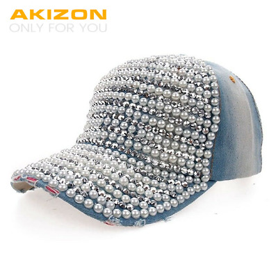 Baseball Cap Pearls for Women Teen Girls Fashion Leisure Rhinestones Jean Cotton