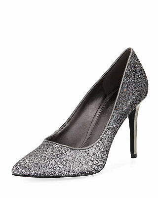 982a9248e4d5 Michael Kors Women s Size 7.5 M Silver Claire Chunky Glitter Pump Pointed  Toe