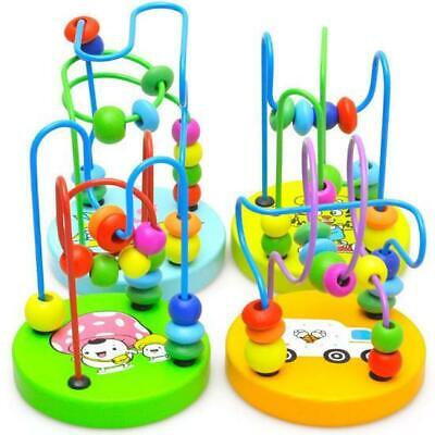 Mini Kids Baby Colorful Wooden Around Beads Educational Game Toy Learning Tools