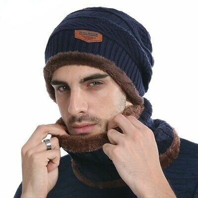 AKIZON Winter Beanie Knitted Hat Scarf Skullies Beanies Men Winter Hats For Men