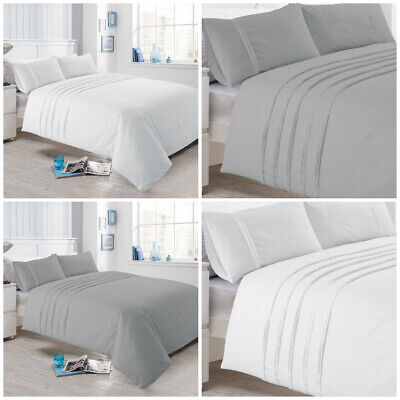 Luxury Pintuck Pleated Duvet Cover Bedding Set Grey Silver White Bed Linen