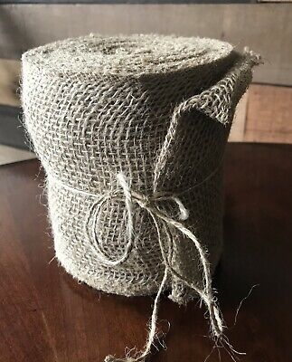 """30 ft, 5.5"""" Wide JUTE BURLAP Roll Natural Tan, Finished Unwired Edge"""