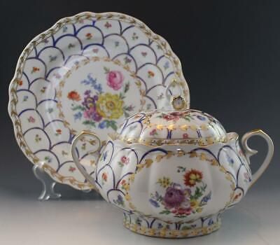 Vintage French Porcelain Paris Royal Hand Painted Tureen & Under Plate w/ Gold