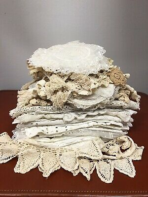 Lot Of 80+ Vintage Antique Lace Crocheted Doilies, Placemats, Runners, Crafts