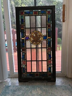 """antique vintage Stained Glass church Window ST. JOHN  44"""" x 22"""""""