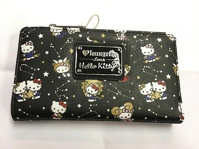59fe41493 LOUNGEFLY SANRIO HELLO Kitty Black with animations Clip & Zip Wallet ...