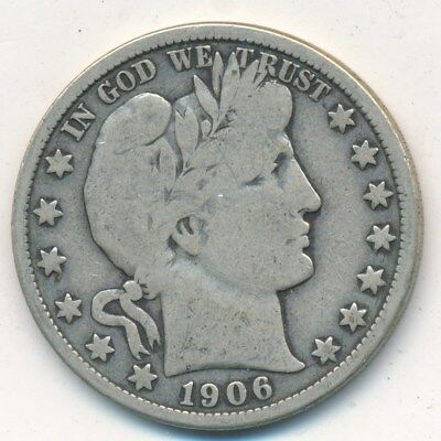 1906-D Barber Silver Half Dollar-A Nice Circulated Half Dollar-Ships Free!