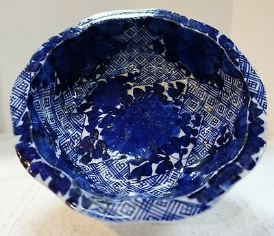 #sh8 Japanese Arita Meiji blue handpainted Bowl, 19th C. 9 1/2 by 3 inches