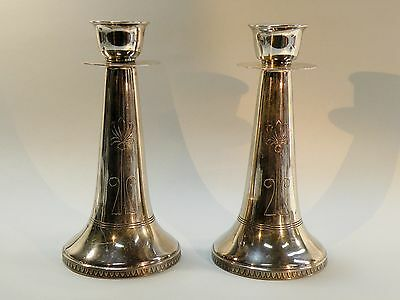 Sbx:  Antique Art Nouveau Silverplate Candlesticks, Pair