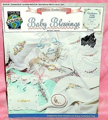 True Colors Baby Blessings Ribbon Embroidery Pattern Leaflet Flowers Floral