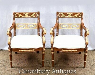 Pair French Empire Arm Chairs Fauteuils