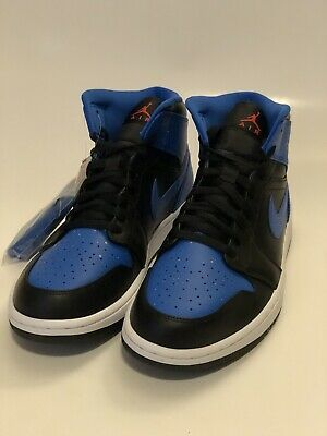 1297a03a4bcc New 2018 Nike Air Jordan 1 Retro MID Royal Paint Splatter 554724-048 Black  Sz