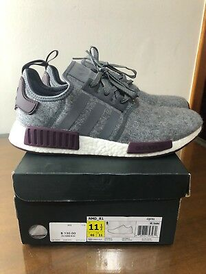 afe96e817 Adidas NMD R1 Grey Wool Maroon Burgundy CQ0761 Exclusive RARE SIZE 11.5