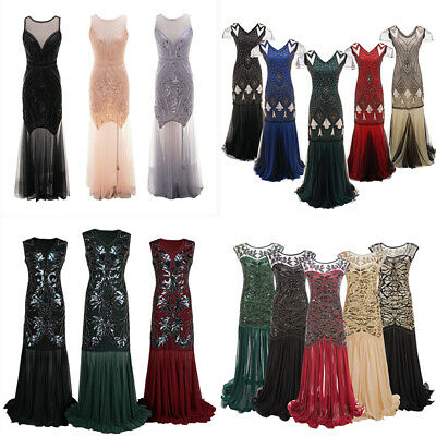 1920s Vintage Flapper Dress Great Gatsby Sequins Fringeds Cocktail Party Gown AU