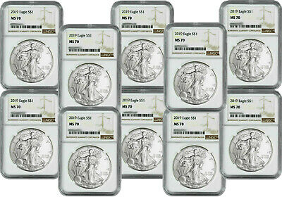 2019 American Silver Eagle - NGC MS-70 - Lot of 10