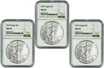 2019 American Silver Eagle - NGC MS-70 - Lot of 3
