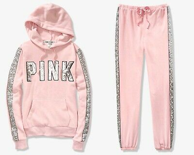 85972c261d290 VICTORIA'S SECRET PINK Ombre Bling Floral Perfect Hoodie Skinny Pant ...