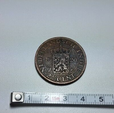 1920 Netherlands Dutch East Indies old 2 and 1/2 cents coin