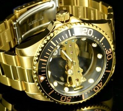 Invicta Ghost Bridge Pro Diver Gold Black Stainless Mechanical Watch 24694 New
