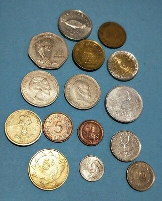 Mixed lot of 15 world coins Africa Europe Asia Australia see photos