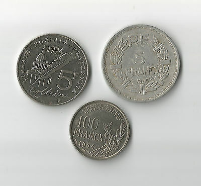 3 French coins 5 Francs 1946 & Voltaire 1994 & 100 Francs 1954 France pre Euro