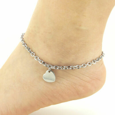 Stainless Charm 9-11 Steel Inches SSA102 Anklets Ankle Bracelet Heart