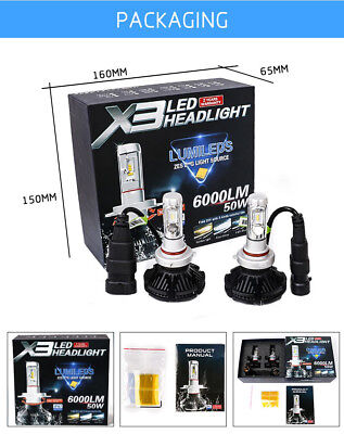 Set x3 LED H7 6000K 5 S 6000LM A BULBO HEAD LIGHT 12V-24V LUMINOSISSI