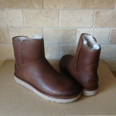 c6702488435 UGG ABREE MINI Leather Bruno Shearling Zip Ankle Boots Size Us 9 ...