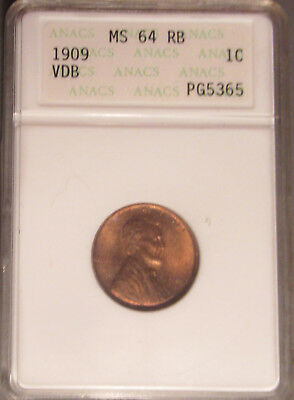 1909 P VDB Lincoln Cent/Penny (1C), ANACS MS 64 RB Old White Holder