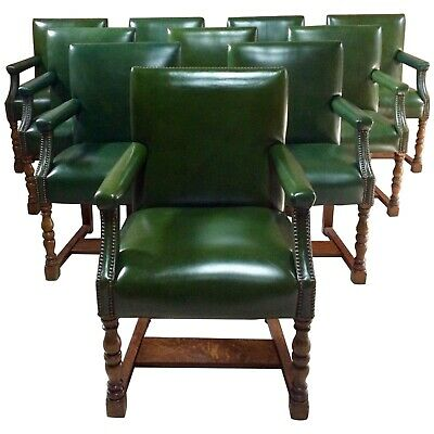 Rare Howard & Sons Armchairs Set Of Eleven Boardroom Dining Library Gainsborough