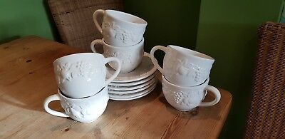 6 Marks Spencer M&s St Michael White Embossed Cups & Saucers