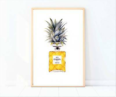 Pineapple perfume bottle painting drawing print/poster