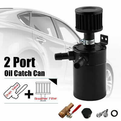 Oil Catch Can 2-Port Tank Reservoir with Drain Valve Breather Baffled Universal