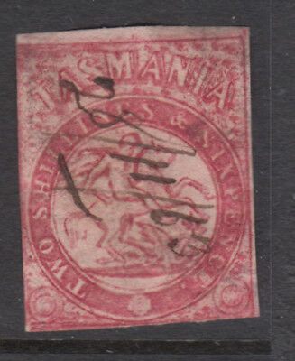 TASMANIA 1860-80's 2/6 St George REVENUE Pen Cancel (B9)